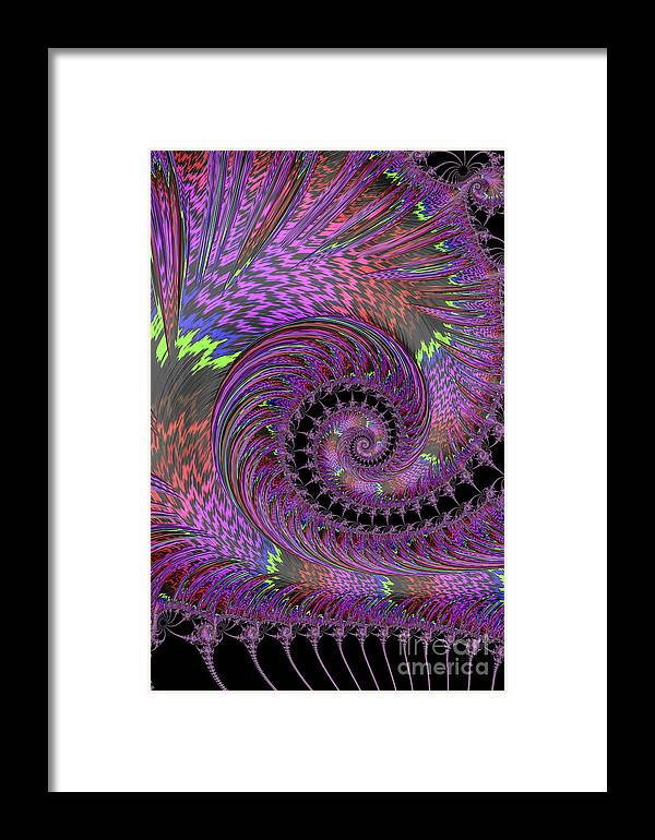 Fractal Framed Print featuring the photograph Purple Swirl by Steve Purnell