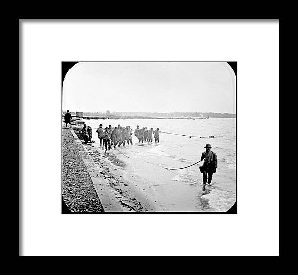 Commercial Framed Print featuring the photograph Purse Seining For Shad Delaware River C 1895 by A Gurmankin