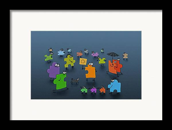 Abstract Framed Print featuring the digital art Puzzle Family by Gianfranco Weiss