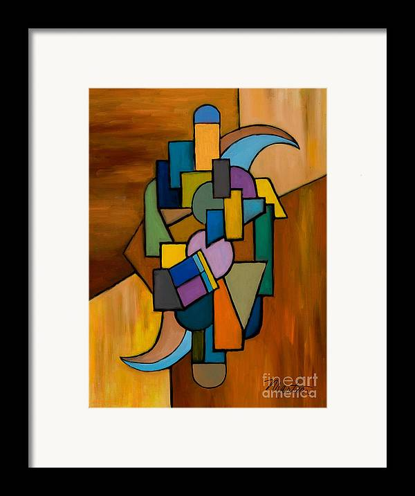 Abstract Framed Print featuring the painting Puzzle IIi by Larry Martin