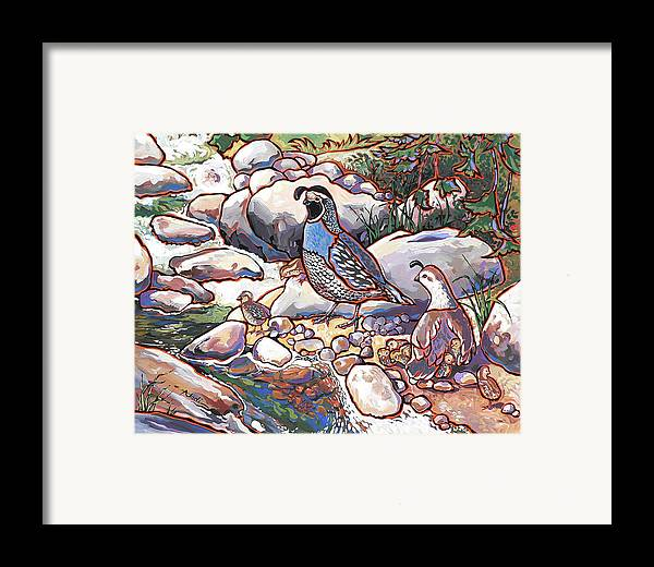 Quail Framed Print featuring the painting Quail Family by Nadi Spencer