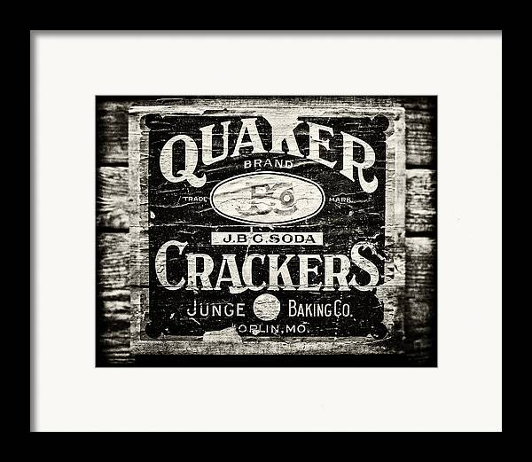 Quaker Crackers Framed Print featuring the photograph Quaker Crackers Rustic Sign For Kitchen In Black And White by Lisa Russo