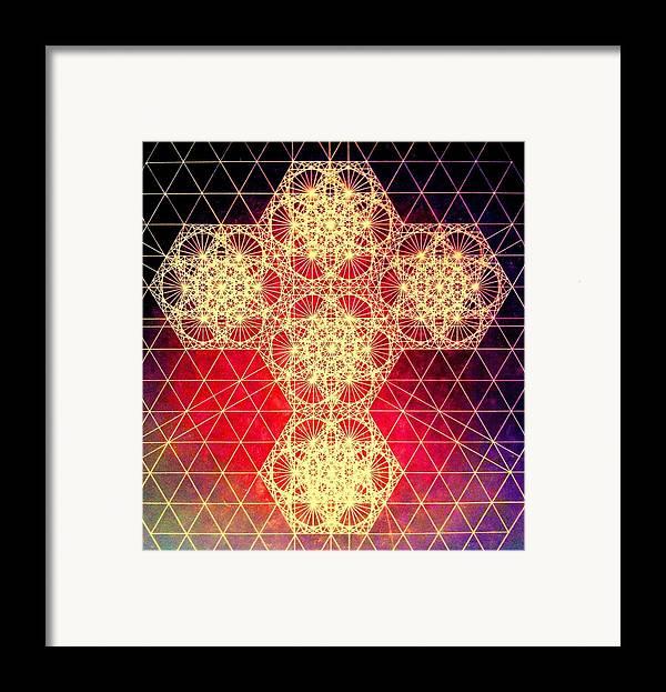 Cross Framed Print featuring the drawing Quantum Cross Hand Drawn by Jason Padgett
