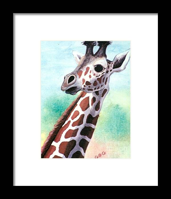 Giraffes Framed Print featuring the painting Que Pasa by George I Perez