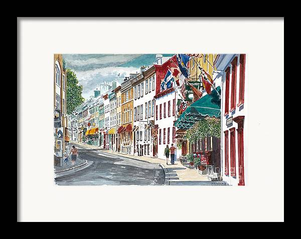 Quebec Old City Canada Framed Print featuring the painting Quebec Old City Canada by Anthony Butera