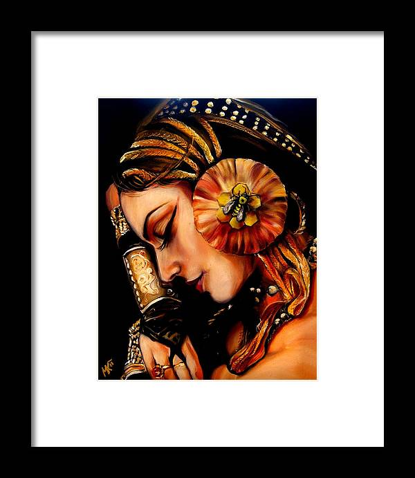 Beauty Framed Print featuring the painting Queen Bee by Em Kotoul