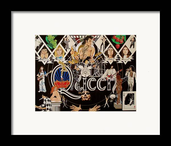 Freddie Mercury;brian May;roger Taylor;john Deacon;guitars;crown;royal;grapes;strawberries;drums; Framed Print featuring the drawing Queen - Black Queen White Queen by Sean Connolly