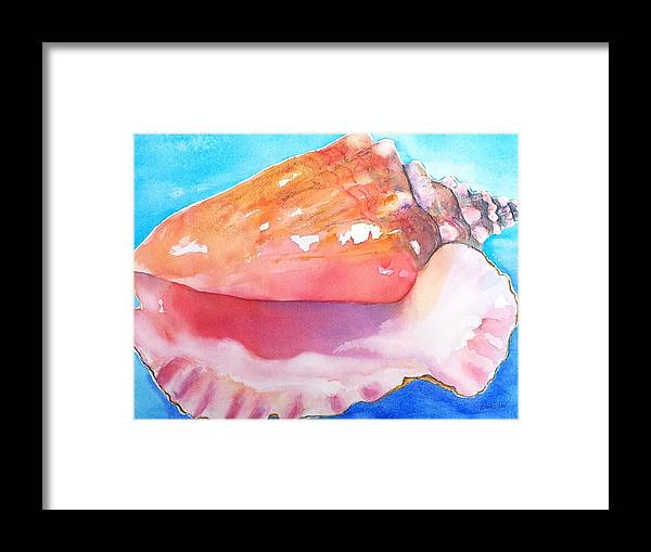 Queen Conch Shell Framed Print featuring the painting Queen Conch Shell by Carlin Blahnik CarlinArtWatercolor