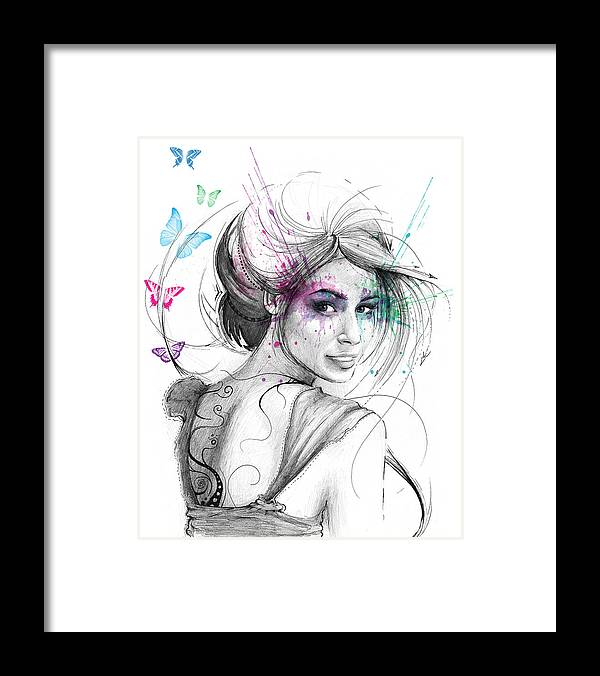 Butterflies Framed Print featuring the drawing Queen of Butterflies by Olga Shvartsur