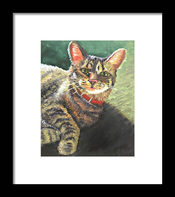 Cat Framed Print featuring the painting Queen Of The House by Peter Bonk