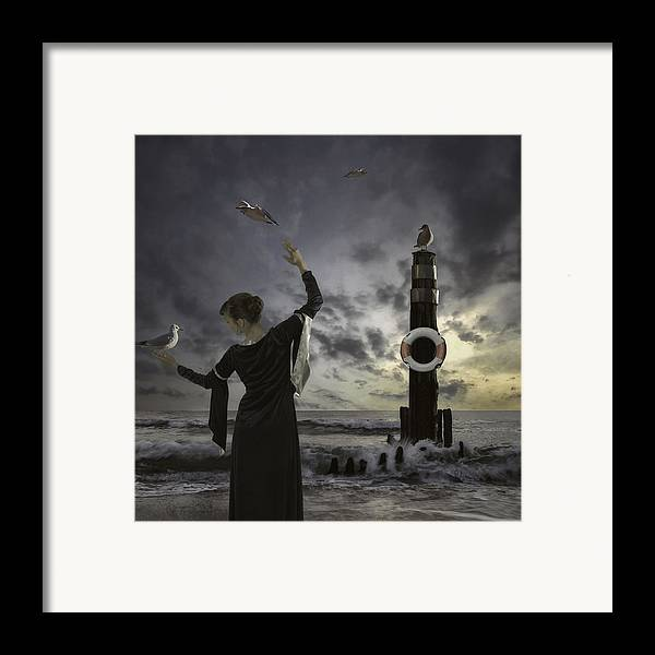 Woman Framed Print featuring the photograph Queen Of The Seagulls by Joana Kruse