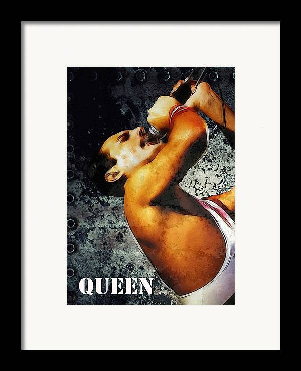 Rock Music Freddie Mercury Queen Famous Band 80s 70s 90s Star Song Songwriter Framed Print featuring the painting Queen We Will Rock You by Steve K