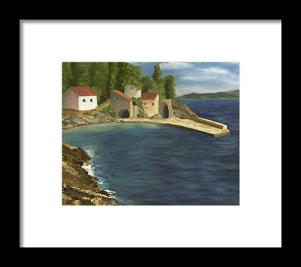 Seascapes Framed Print featuring the painting Quiet Cove by Deborah Butts