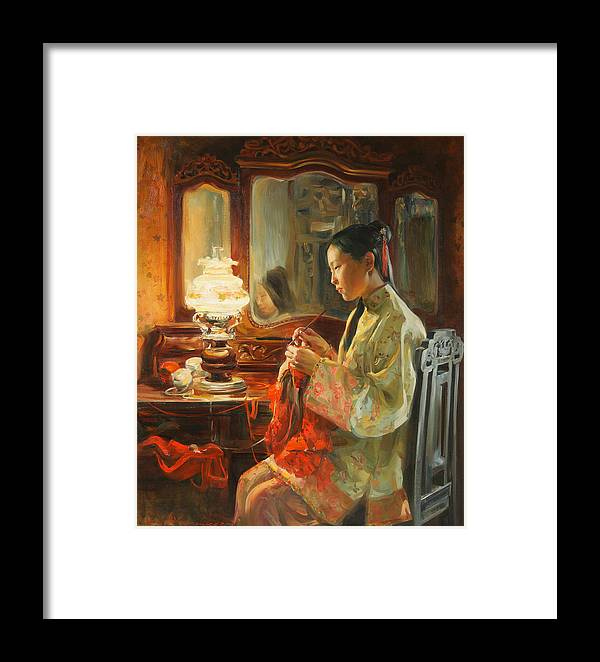 China Framed Print featuring the painting Quiet Evening by Victoria Kharchenko