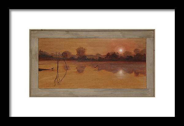 Nature Framed Print featuring the painting Quiet Pond by Fred Paddock