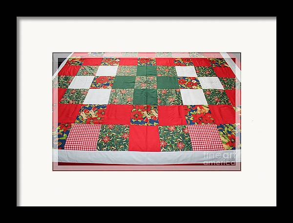 Quilts Framed Print featuring the tapestry - textile Quilt Christmas Blocks by Barbara Griffin