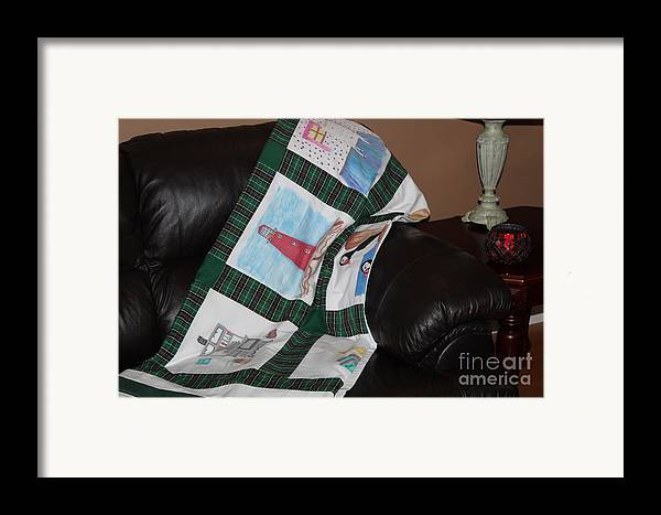 Quilts Framed Print featuring the tapestry - textile Quilt Newfoundland Tartan Green Posts by Barbara Griffin