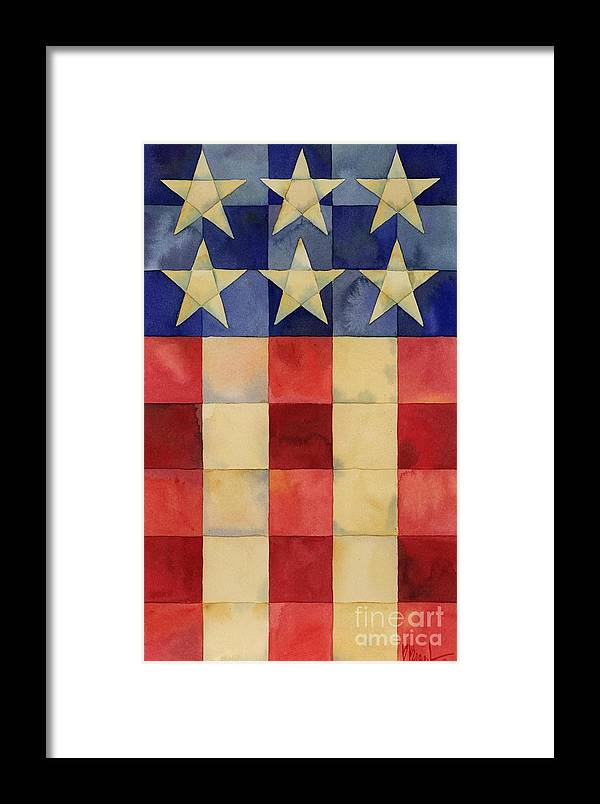 Patriotic Framed Print featuring the painting Quilted Flag Vertical by Paul Brent