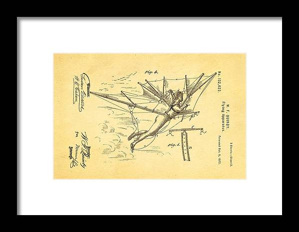 Aviation Framed Print featuring the photograph Quinby Flying Apparatus 2 Patent Art 1872 by Ian Monk