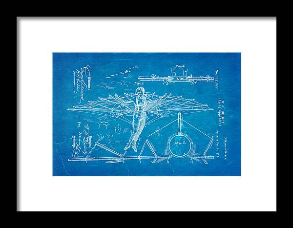 Aviation Framed Print featuring the photograph Quinby Flying Apparatus Patent Art 1872 Blueprint by Ian Monk