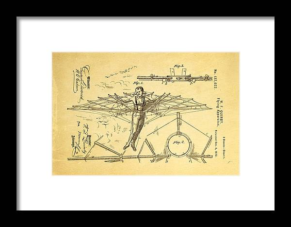 Aviation Framed Print featuring the photograph Quinby Flying Apparatus Patent Art 1872 by Ian Monk
