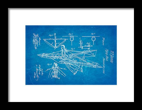 Aviation Framed Print featuring the photograph Quinby Flying Machine Patent Art 1869 Blueprint by Ian Monk