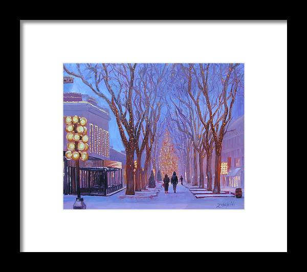 Holidays Framed Print featuring the painting Quincy Market At Twilight by Laura Lee Zanghetti