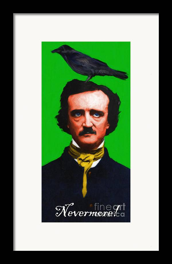 Edgar Framed Print featuring the photograph Quoth The Raven Nevermore - Edgar Allan Poe - Painterly - Green - With Text by Wingsdomain Art and Photography