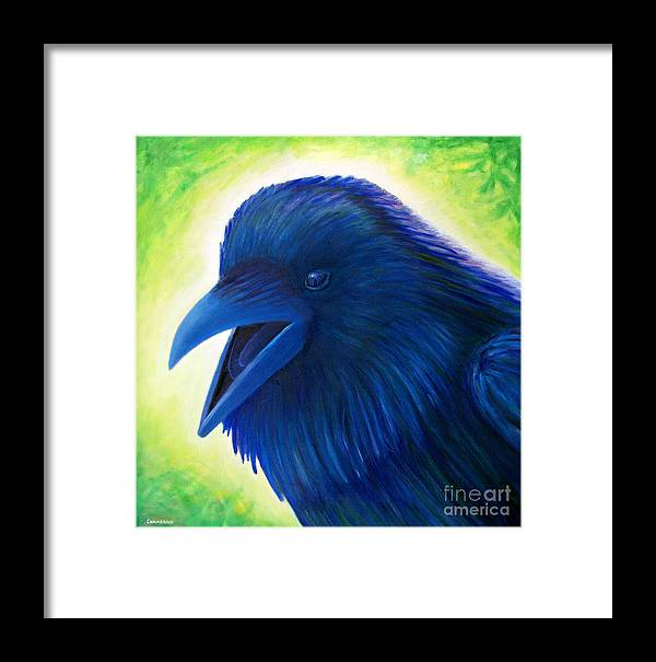 Raven Framed Print featuring the painting Raaawk by Brian Commerford