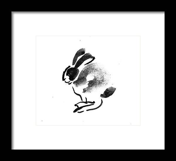 Forest Framed Print featuring the painting Rabbit Buck by M E Wood