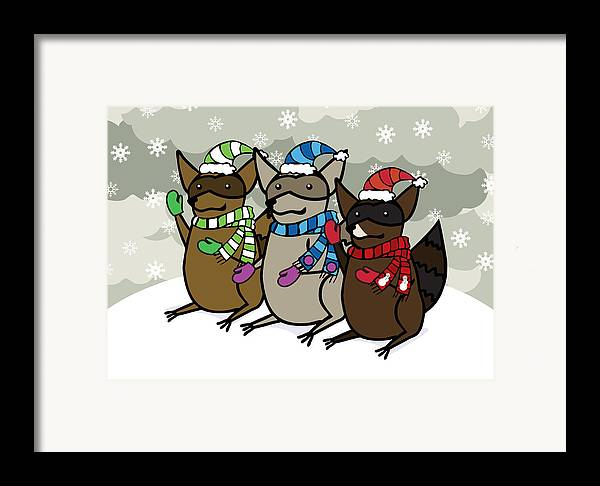 Raccoons Framed Print featuring the digital art Raccoons Winter by Christy Beckwith