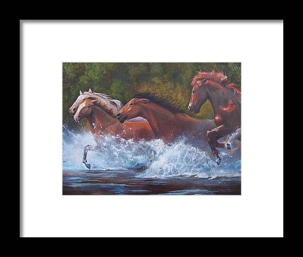 Wild Horse Art Framed Print featuring the painting Race For Freedom by Karen Kennedy Chatham