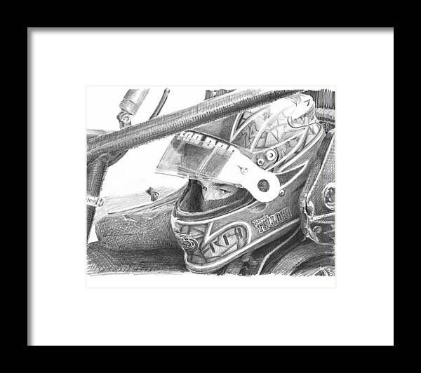 Www.miketheuer.com Racecar Driver Pencil Portrait Framed Print featuring the drawing Racecar Driver Pencil Portrait by Mike Theuer