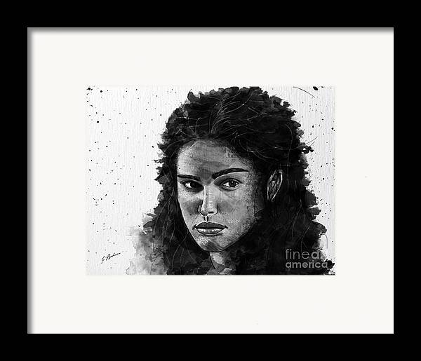 Girl Face Framed Print featuring the drawing Rachel In Waiting by Gary Bodnar