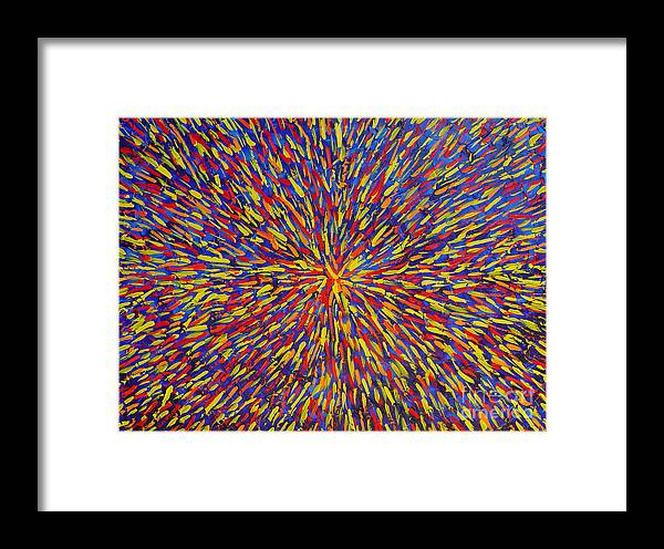 Abstract Framed Print featuring the painting Radiation Blue by Dean Triolo