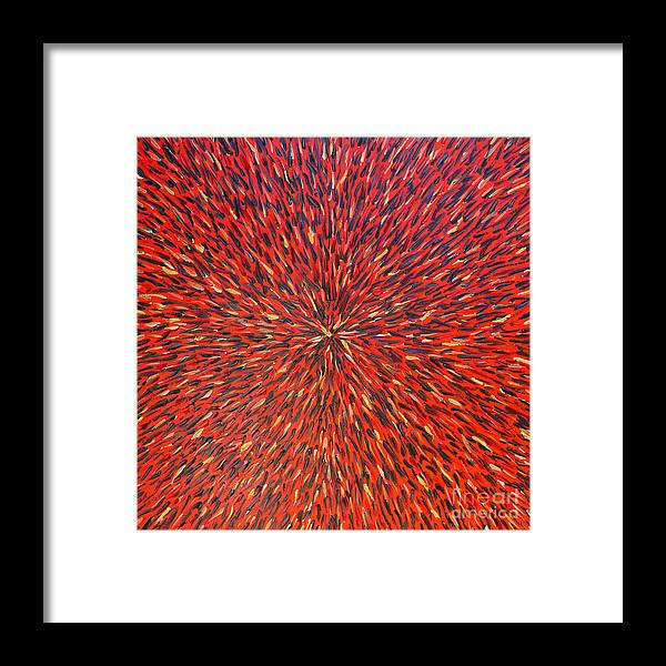 Abstract Framed Print featuring the painting Radiation Red by Dean Triolo