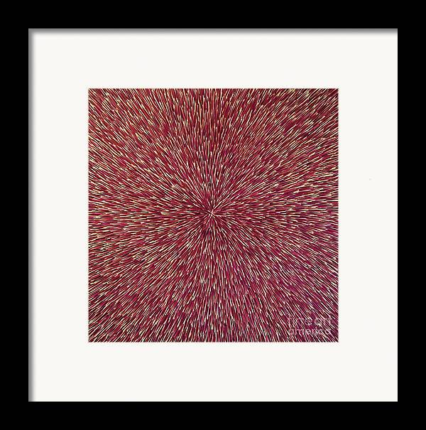 Abstract Framed Print featuring the painting Radiation With Brown Magenta And Violet by Dean Triolo