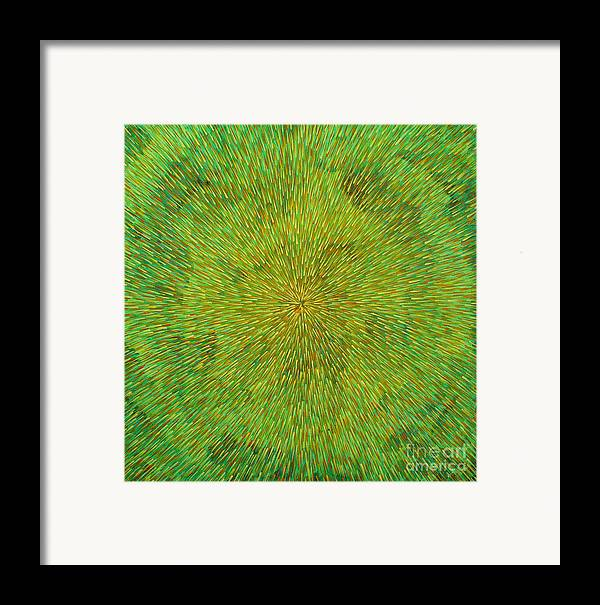 Abstract Framed Print featuring the painting Radiation With Green Yellow And Orange by Dean Triolo