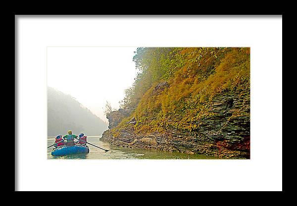 Rafting Near Shore In The Seti River In Nepal Framed Print featuring the photograph Rafting Near Shore In The Seti River-nepal  by Ruth Hager