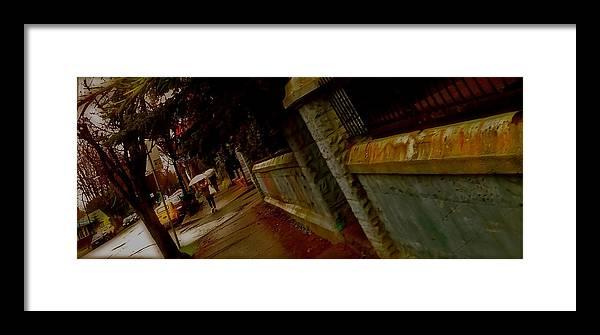 Eastvan Framed Print featuring the digital art Railing by Josie Boyce