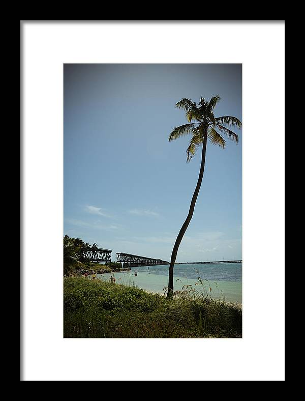 Bahia Honda Key Framed Print featuring the photograph Railroad Bridge And Palm Trees by Robert Klemm