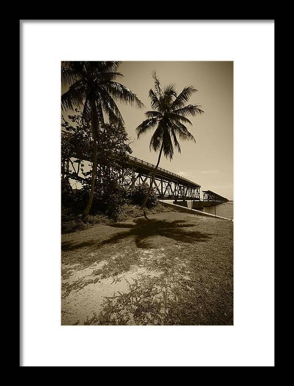 Bahia Honda Key Framed Print featuring the photograph Railroad Bridge In Sepia by Robert Klemm
