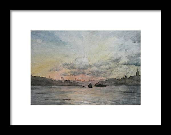 Istanbul Framed Print featuring the painting Rain Approaching The Golden Horn by Rebecca Davis