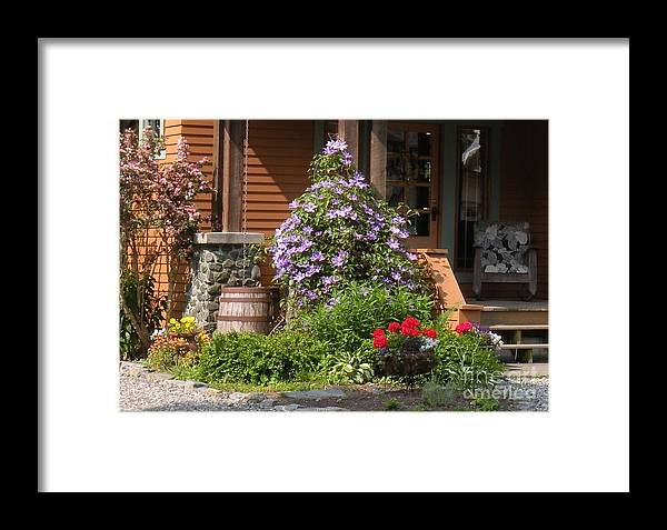 Flowers Framed Print featuring the photograph Rain Barrel by Nancy Taylor Major
