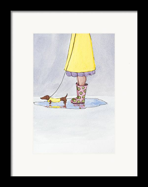 Boot Framed Print featuring the painting Rain Boots by Christy Beckwith