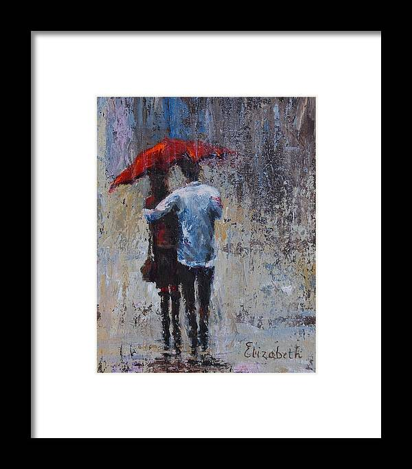 Umbrella Framed Print featuring the painting Rain Embrace by Beth Maddox