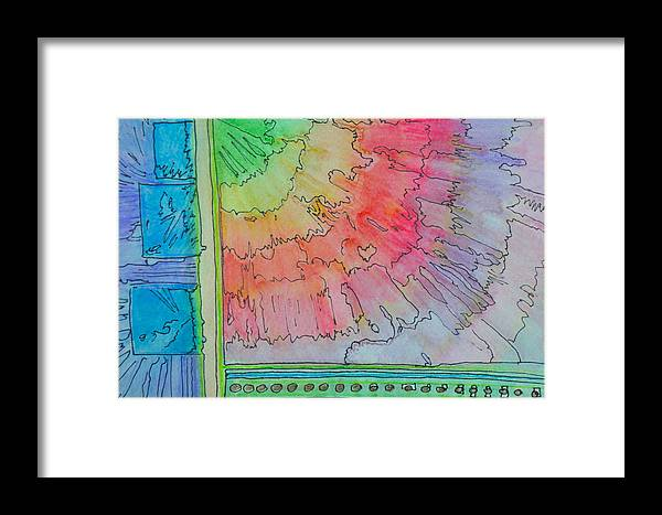 Watercolor Framed Print featuring the painting Rainbow 3-squared by Paula Deutz