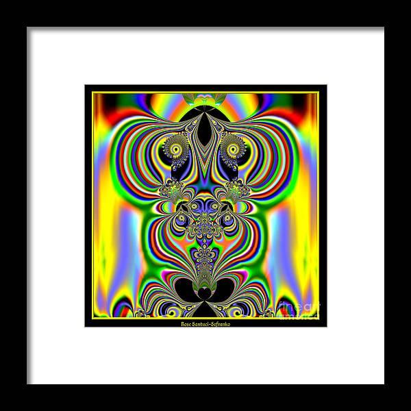 Rainbows Framed Print featuring the digital art Rainbow Alien Owls Fractal 57 by Rose Santuci-Sofranko