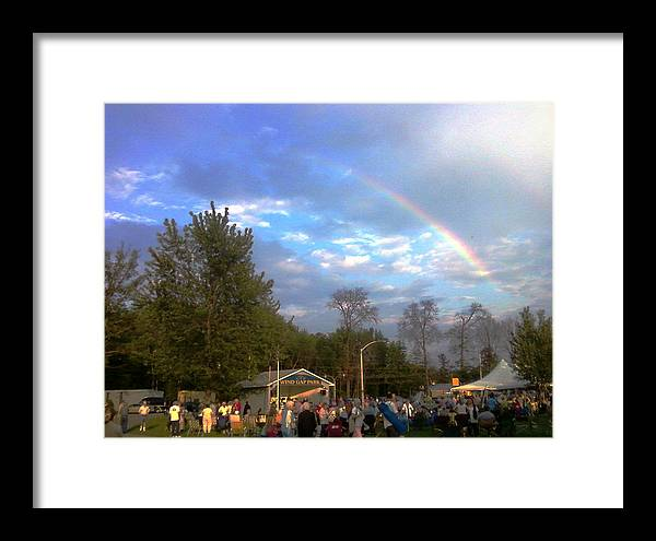 Landscapes Framed Print featuring the digital art Rainbow At Wind Gap Park by Diane Paulhamus