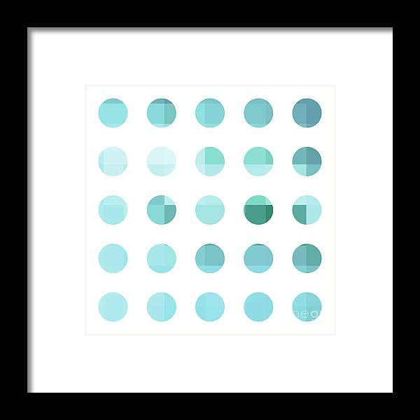 Abstract Framed Print featuring the painting Rainbow Dots Aqua by Pixel Chimp